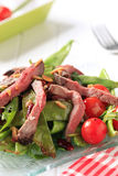 Roast beef with snow peas and arugula Stock Image