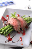 Roast beef with string beans Royalty Free Stock Photography