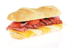 Roast beef submarine sandwich Royalty Free Stock Photography