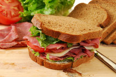 Roast beef and swiss sandwich Stock Image
