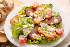Roast beef with toast cheese and truffle sauce Stock Photos