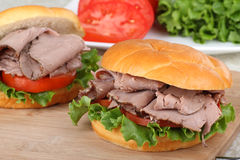 Roast Beef, Tomato, Lettuce Sandwich Royalty Free Stock Photos