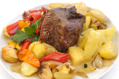 Roast beef and vegetables Stock Photography