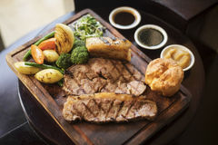 Roast beef and vegetables classic british meal Stock Photo