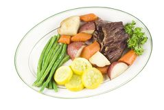 Roast Beef with vegetables on plate Royalty Free Stock Photo