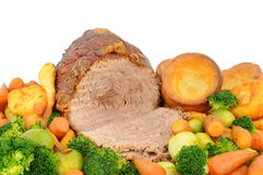 Roast Beef And Vegetables stock photos