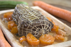 Roast beef at the wine sauce and carrots Royalty Free Stock Photography