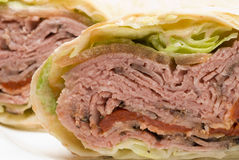 Roast beef wrap stock images