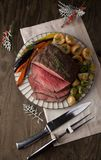 Roast Beef With Yorkshire Puddings stock photo