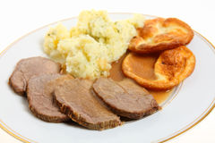 Roast beef and Yorkshire puddings Royalty Free Stock Image