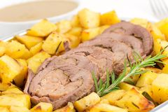Roast beff with potatoes Royalty Free Stock Image
