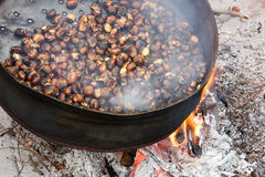 Roast chestnuts. Cooked on wood fire, roasting pan with holes stock photo
