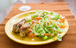 Roast chicken. Salad lying on a yellow plate with a roast chicken Royalty Free Stock Photos