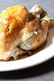 Roast chicken. Photograph of a roast chicken on a white plate Stock Photography