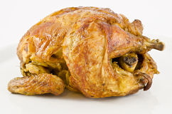 Roast chicken. Roasted chicken on a white background Stock Images