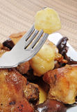 Roast chicken. Closeup of a dish with pieces of roast chicken Royalty Free Stock Images