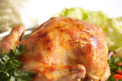Roast Chicken. Tasty Crispy Roast Chicken on plate Stock Photography