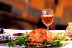 Roast Chicken. Tasty Crispy Roast Chicken on plate Stock Photo