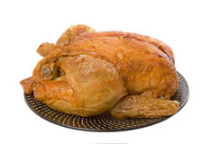 Roast Chicken. On plate isolated over white background stock photo