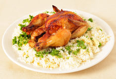 Free Roast Chicken And Rice Side View Royalty Free Stock Image - 21865196