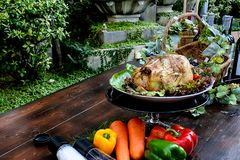 Roast chicken, The aroma herbs in the food helps to eat more. stock images