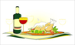 Roast chicken  with bottle of wine on served table. Roast chicken  with bottle of red wine on served table Royalty Free Stock Photos