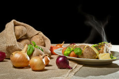 Roast chicken breast with jacket potatoes Stock Image