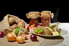 Roast chicken breast, jacket potatoes stock images