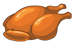 Roast Chicken. Cartoon Drawing isolated on white Stock Photography