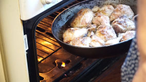 Roast chicken cooked in the oven stock video footage
