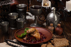 Roast chicken with cranberry sauce basil and mushrooms Royalty Free Stock Photography