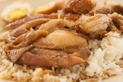 Roast chicken and crispy pork with rice and boiled egg Stock Photos