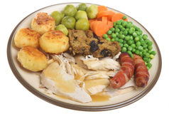 Roast Chicken Dinner Stock Photo