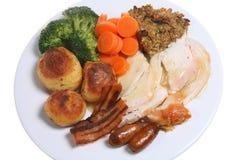 Roast Chicken Dinner. Traditional English Sunday roast chicken dinner with all the trimmings Stock Image