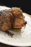 Roast chicken dinner; angled close crop Stock Images