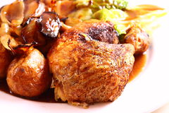 Roast chicken dinner B Royalty Free Stock Photo