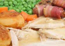 Roast Chicken Dinner with Gravy. Roast chicken dinner with trimmings and gravy Stock Photos