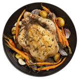 Roast Chicken Dinner Top View Stock Photo
