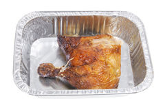 Roast Chicken in Foil Tray Royalty Free Stock Photo
