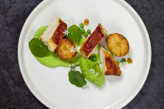 Roast chicken with fondant potatoes, pea mousse, pea puree, garlic flowers and nasturtium leaves. Dish of roast chicken with fondant potatoes, pea mousse, pea Stock Photo
