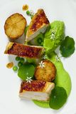 Roast chicken with fondant potatoes, pea mousse, pea puree, garlic flowers and nasturtium leaves. Dish of roast chicken with fondant potatoes, pea mousse, pea Stock Image