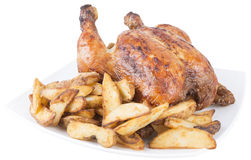 Roast chicken and french fries in white dish. isolated on white. Background Stock Photo