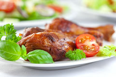 Roast chicken with fresh herbs Royalty Free Stock Image