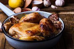 Roast chicken with garlic and lemon in cooking pan Royalty Free Stock Photography