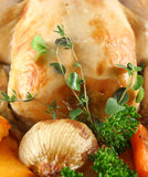 Roast Chicken With Garnish Royalty Free Stock Photo