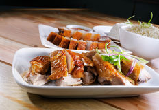 Roast Chicken & Grilled Pork Stock Photo