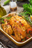Roast Chicken. Homemade Roast Chicken  on  wooden  background Stock Photos