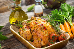 Roast Chicken. Homemade Roast Chicken  on  wooden  background Royalty Free Stock Image