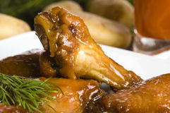 Roast chicken with honey Stock Photo