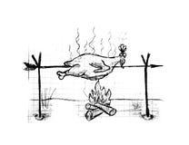 Roast chicken, illustration. Roast chicken on white background, illustration Stock Image